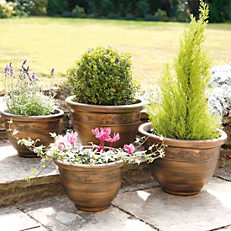Set Of Four Antique Effect Finish Planters