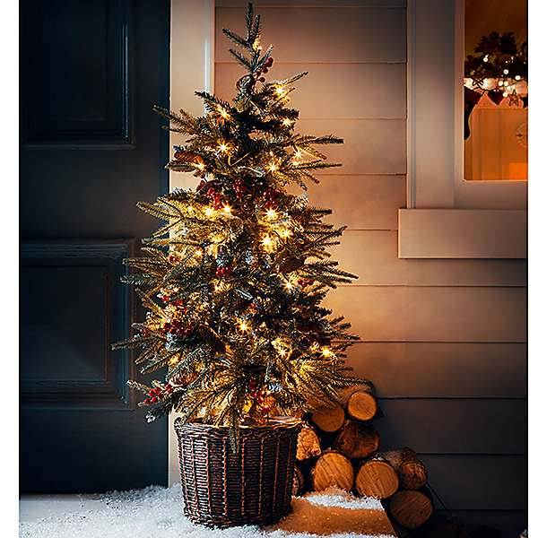 Potted Christmas Tree.120 Cm Pre Lit Berry Pinecone Potted Christmas Tree